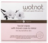 WOTNOT facial wipes for dry/sensitive skin - travel case with mirror - 25pk